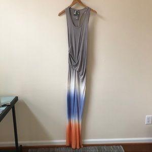 YOUNG FABULOUS BROKE gray orange ombre maxi dress